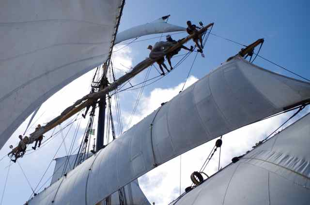 Sending down the fore upper topsail