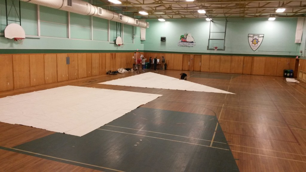 laying out sails at the Lunenburg Community Centre