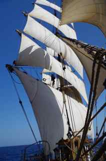 Mackenzie stitching chafe gear aloft on the starboard fore topmast shrouds