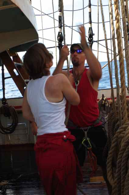 Aaron and Diana set the main topgallant staysail